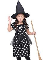 Недорогие -ведьма Инвентарь Маскарад Детские Девочки Хэллоуин Хэллоуин Фестиваль / праздник Спандекс Полиэфир / полиамид Черный Карнавальные костюмы
