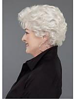 Недорогие -Парики из искусственных волос Парики из натуральных волос на кружевной основе Волнистый Матовое стекло Стиль Стрижка каскад Машинное плетение Без шапочки-основы Парик Кремово-белые