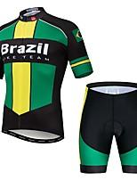 Недорогие -WEIMOSTAR Бразилия Флаги Муж. С короткими рукавами Велокофты и велошорты - Зеленый Велоспорт Наборы одежды Дышащий Быстровысыхающий Виды спорта Эластан Терилен Горные велосипеды Шоссейные велосипеды