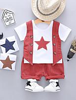 Недорогие -Дети (1-4 лет) Мальчики Классический Мультипликация С принтом С короткими рукавами Обычный Обычная Набор одежды Винный