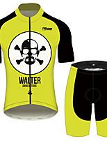 Недорогие -21Grams Во все тяжкие Wlater White Муж. С короткими рукавами Велокофты и велошорты - Черный / желтый Велоспорт Наборы одежды Дышащий Быстровысыхающий Со светоотражающими полосками Виды спорта 100
