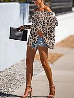 Недорогие -Жен. Блуза Элегантный стиль Леопард Белый