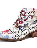 Недорогие -Жен. Ботинки На низком каблуке Заостренный носок Полиуретан Ботинки Лето Черный / Красный
