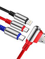 Недорогие -micro usb / молния / кабель типа c 1.2 м (4 фута) в оплетке / от 1 до 3 / быстрая зарядка нейлоновый адаптер usb-кабеля для ipad / samsung / huawei