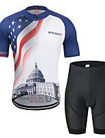 Недорогие -MUBODO Американский / США Флаги Муж. С короткими рукавами Велокофты и велошорты - Черный / синий Велоспорт Наборы одежды Дышащий Влагоотводящие Быстровысыхающий Виды спорта Тюль / Эластичная