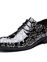 Недорогие -Муж. Официальная обувь Лакированная кожа Весна / Наступила зима Деловые / На каждый день Туфли на шнуровке Нескользкий Черный и золотой / Черно-белый / Лиловый