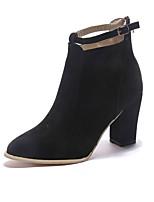 Недорогие -Жен. Ботинки На толстом каблуке Заостренный носок Пряжки Полиуретан Ботинки На каждый день / Английский Наступила зима Черный / Темно-коричневый / Бежевый