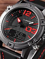 Недорогие -Муж. Нарядные часы Японский Кварцевый Спортивные Стильные Искусственная кожа Черный / Коричневый / Серый 30 m Фосфоресцирующий Аналого-цифровые Роскошь Мода - Черный Коричневый Серый / Один год