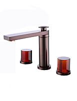 Недорогие -Ванная раковина кран - Широко распространенный Многослойное Другое Две ручки три отверстияBath Taps