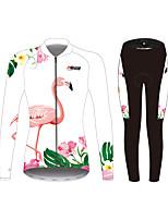 Недорогие -21Grams Фламинго Цветочные ботанический Жен. Длинный рукав Велокофты и лосины - Белый Велоспорт Наборы одежды Устойчивость к УФ Дышащий Влагоотводящие Виды спорта Зима Спандекс / Слабоэластичная