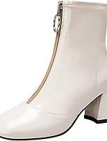 Недорогие -Жен. Ботинки На толстом каблуке Квадратный носок Лакированная кожа Зима Черный / Белый