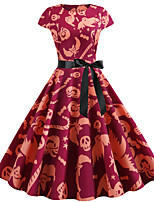 Недорогие -Жен. Классический А-силуэт Платье - Контрастных цветов, С принтом Выше колена