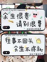 Недорогие -Кейс для Назначение Apple iPhone XS / iPhone XR / iPhone XS Max Зеркальная поверхность / Ультратонкий / С узором Кейс на заднюю панель Слова / выражения / Мультипликация ТПУ