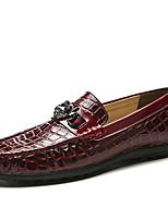 Недорогие -Муж. Комфортная обувь Кожа Лето Мокасины и Свитер Дышащий Черный / Белый / Вино