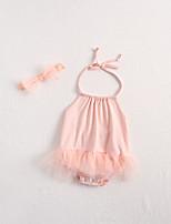 Недорогие -3 предмета малыш Девочки Активный / Уличный стиль Однотонный / Жаккард Открытая спина Без рукавов Bodysuit Розовый