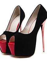 cheap -Women's Heels Stiletto Heel Peep Toe Synthetics Sweet / British Summer / Spring & Summer Black / Wedding / Party & Evening
