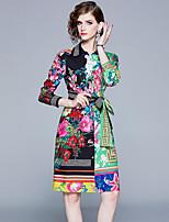 Недорогие -Жен. Элегантный стиль А-силуэт Платье - Цветочный принт, Шнуровка С принтом Выше колена