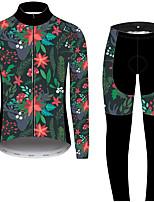 Недорогие -21Grams Цветочные ботанический Муж. Длинный рукав Велокофты и лосины - Красный + синий Велоспорт Наборы одежды С защитой от ветра Устойчивость к УФ Дышащий Виды спорта Зима 100% полиэстер