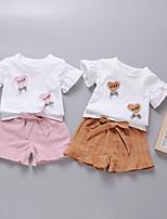 Недорогие -Дети (1-4 лет) Девочки Классический Мультипликация С принтом С короткими рукавами Обычный Обычная Хлопок Набор одежды Розовый