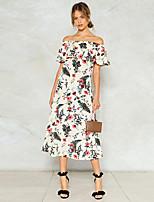 Недорогие -Жен. Богемный Элегантный стиль А-силуэт Платье - Цветочный принт, Оборки С принтом Средней длины