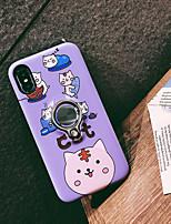 Недорогие -Кейс для Назначение Apple iPhone XS / iPhone XR / iPhone XS Max Кольца-держатели / С узором Кейс на заднюю панель Кот / Мультипликация ПК