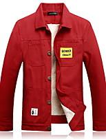 Недорогие -Муж. Повседневные Обычная Куртка, Однотонный Рубашечный воротник Длинный рукав Полиэстер Черный / Белый / Красный US34 / UK34 / EU42 / US36 / UK36 / EU44 / US38 / UK38 / EU46