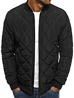 cheap -Men's Padded Hiking jacket Winter Outdoor Diamond Quilted Windproof Warm Soft Comfortable Winter Jacket Top Cotton Full Zipper Camping Hiking Hunting Fishing Black Red Army Green Burgundy
