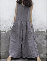 Недорогие -Жен. Классический Серый Комбинезоны, Однотонный S M L