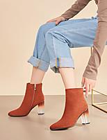 Недорогие -Жен. Ботинки Каблук с хрустальной отделкой Заостренный носок Замша Зима Черный / Коричневый