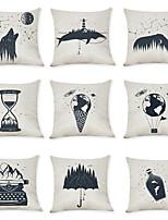 Недорогие -9 штук Лён Наволочка, Геометрический рисунок Простой Для отдыха Бросить подушку