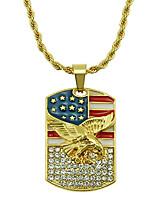 Недорогие -Муж. Ожерелья с подвесками Цепочка длинное ожерелье геометрический Eagle Массивный модный Камни Мода Хром Искусственный бриллиант Золотой 75 cm Ожерелье Бижутерия 1шт Назначение