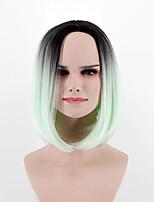 Недорогие -Парики из искусственных волос Прямой Стиль Стрижка боб Без шапочки-основы Парик Мятно-зелёный Искусственные волосы 14 дюймовый Жен. Модный дизайн Женский Зеленый Парик Короткие