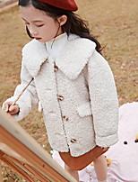 Недорогие -Дети Девочки Классический Однотонный Обычная Куртка / пальто Светло-синий