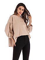 cheap -Women's Blouse Shirt Color Block Round Neck Tops Puff Sleeve Loose Basic Basic Top Red Beige