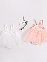 Недорогие -3 предмета малыш Девочки Активный / Уличный стиль Однотонный / Жаккард Открытая спина Без рукавов Bodysuit Белый