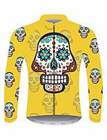Недорогие -21Grams Сахарный череп Муж. Длинный рукав Велокофты - Желтый Велоспорт Джерси Верхняя часть Устойчивость к УФ Дышащий Влагоотводящие Виды спорта 100% полиэстер Горные велосипеды Шоссейные велосипеды