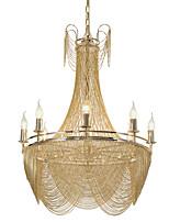 Недорогие -Роскошная люстра на 8 ламп / подвесные светильники из алюминиевого потока / золото / серебро, гальваническое покрытие для гостиной комнаты ресторан / led5w e12 / 14 в комплект входит теплый белый свет