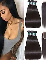Недорогие -3 комплекта с закрытием Бразильские волосы Прямой Натуральные волосы 100% Remy Hair Weave Bundles Человека ткет Волосы Пучок волос One Pack Solution 8-20 дюймовый Естественный цвет / Без запаха