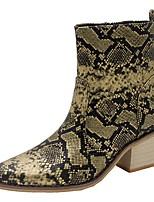 Недорогие -Жен. Ботинки На толстом каблуке Заостренный носок Полиуретан Сапоги до середины икры Осень Черный / Желтый / Красный