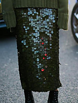 Недорогие -Жен. Уличный стиль Блесна Подол Однотонный Зеленый S M L