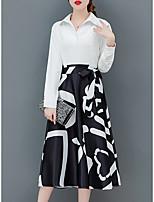 Недорогие -Жен. Изысканный Элегантный стиль А-силуэт Оболочка Платье - Геометрический принт, Шнуровка Средней длины Черное и белое