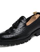 Недорогие -Муж. Комфортная обувь Кожа Осень Мокасины и Свитер Черный / Вино / Коричневый