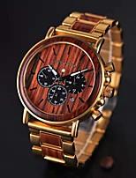 Недорогие -Муж. Нарядные часы Японский Японский кварц Стильные Дерево Черный / Фуксия 30 m Повседневные часы деревянный Аналого-цифровые Мода Дерево - Черный Темно-красный Два года Срок службы батареи