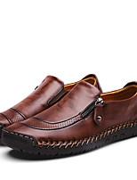 Недорогие -Муж. Комфортная обувь Наппа Leather Весна / Осень На каждый день Мокасины и Свитер Для прогулок Дышащий Черный / Темно-русый / Темно-коричневый