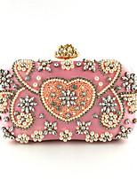 Недорогие -Жен. Кристаллы / Жемчужная отделка Полиэстер Вечерняя сумочка Вышивка Розовый