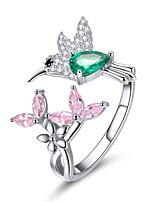 Недорогие -100% стерлингового серебра 925 регулируемые колибри подарок светящиеся прозрачные cz кольца для женщин серебряные украшения
