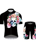 Недорогие -21Grams Сахарный череп Муж. С короткими рукавами Велокофты и велошорты - Черный Велоспорт Наборы одежды Дышащий Влагоотводящие Быстровысыхающий Виды спорта 100% полиэстер Горные велосипеды Одежда