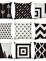 Недорогие -9 штук Лён Наволочка, геометрический Современный стиль Мода Modern Бросить подушку