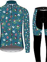 Недорогие -21Grams Цветочные ботанический Муж. Длинный рукав Велокофты и лосины - Черный / синий Велоспорт Наборы одежды С защитой от ветра Устойчивость к УФ Дышащий Виды спорта Зима 100% полиэстер