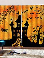 Недорогие -3d трехмерные пользовательские шторы счастливый хэллоуин тема фантастический замок фон занавес затемнения 100% полиэстер занавес